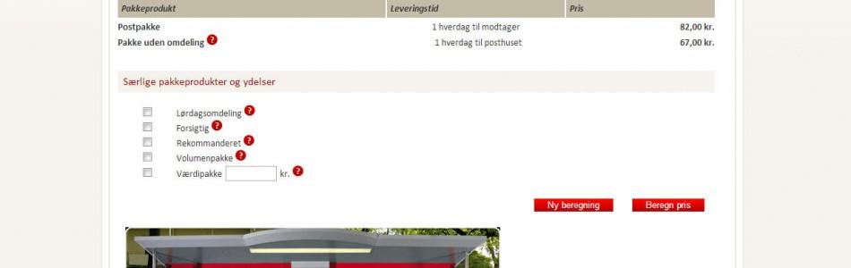 Pris på pakkepost fra Post Danmark